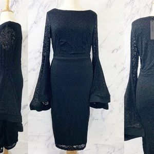 Bell Sleeve Bodycon Black Lace Witchy Dress 3XL